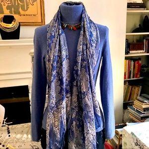 Blue and white rectangular fringed silk scarf